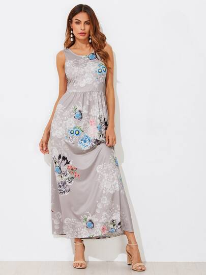 Flower Print Pocket Side High Waist Tank Dress