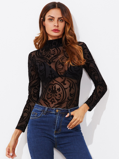 Body transparente con cuello mock