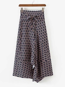 Self Tie Asymmetrical Skirt