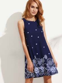 Printed Polka Dot Tank Dress