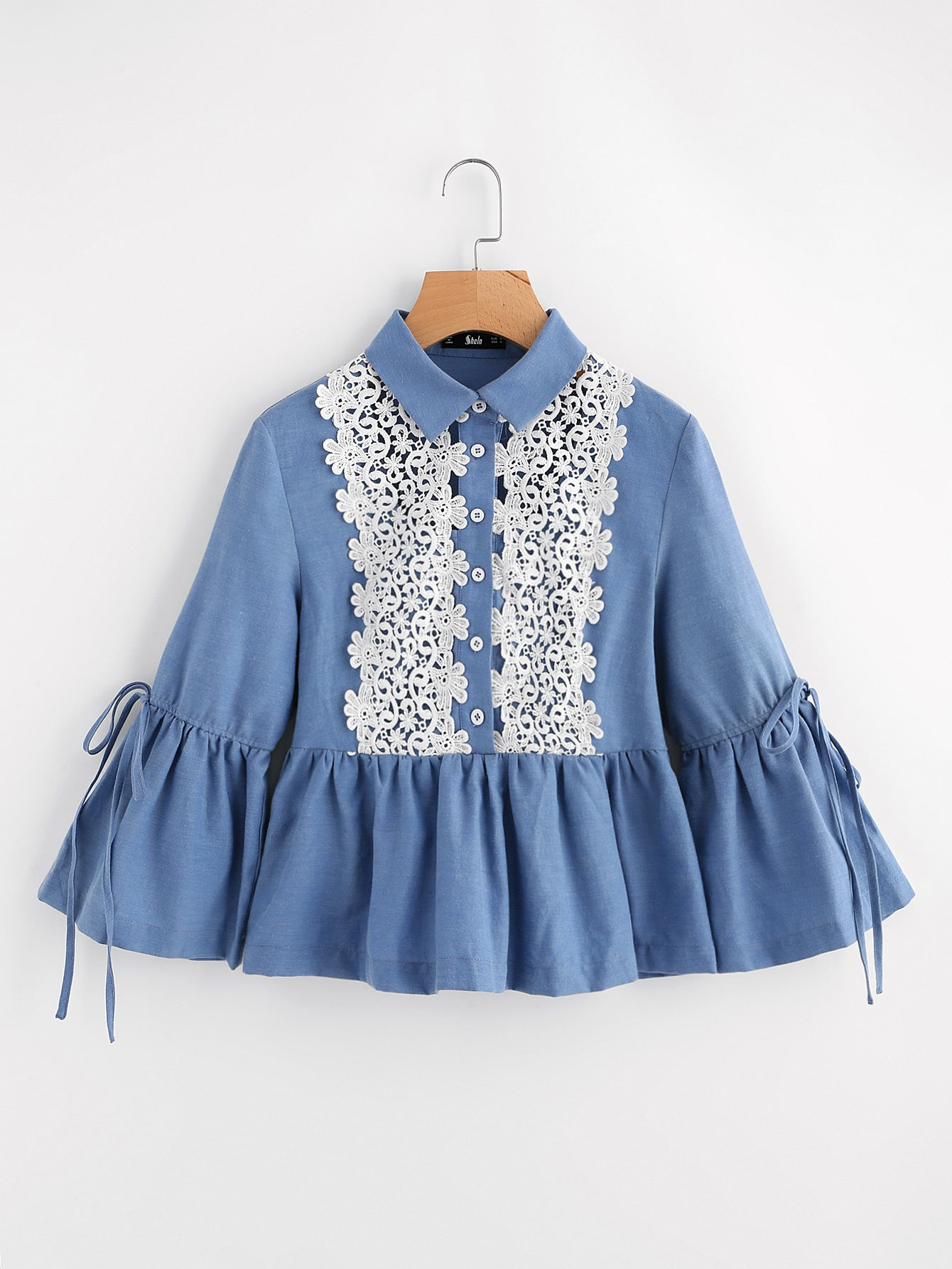 Drawstring Fluted Sleeve Lace Applique Peplum Blouse пальто troll пальто короткие