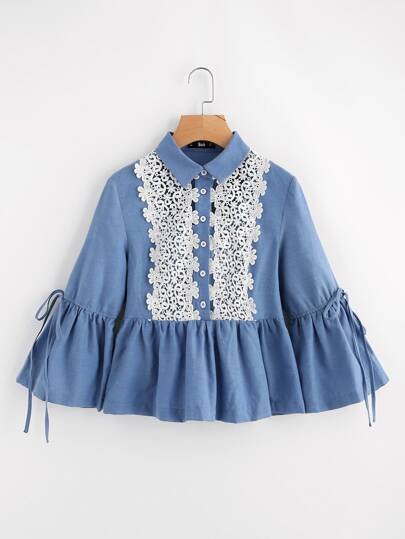 Drawstring Fluted Sleeve Lace Applique Peplum Blouse