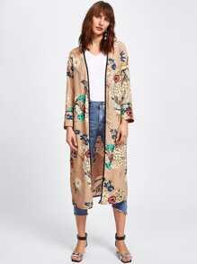 Kimono de cintura con cordón con estampado botánico