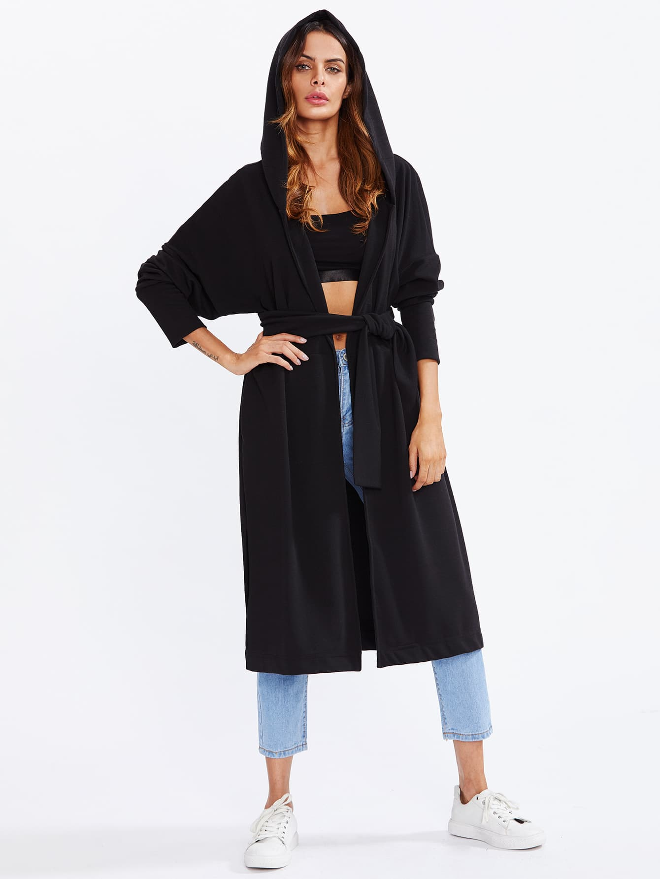 Tie Waist Hooded Coat