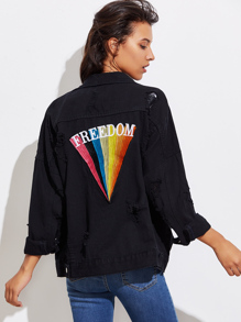 Rainbow Embroidered Back Ripped Denim Jacket