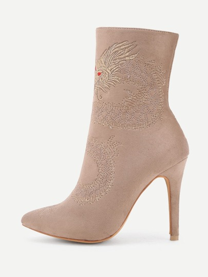 Dragon Embroidery High Heeled Ankle Boots