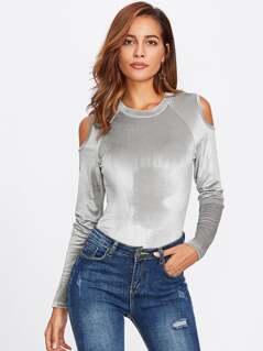 Cutout Raglan Sleeve Velvet Bodysuit