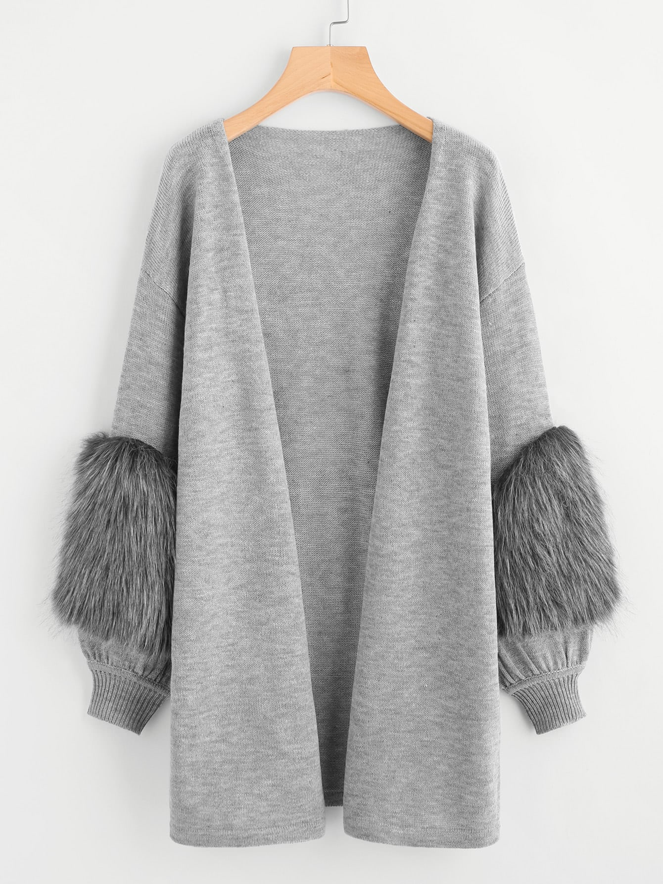 Contrast Faux Fur Sleeve Open Front Cardigan grey fashion sleeveless artificial fur open front coat