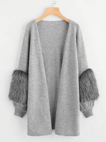 Contrast Faux Fur Sleeve Open Front Cardigan