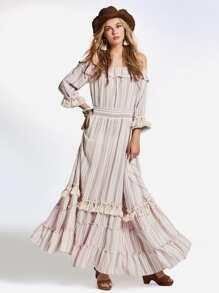 Off Shoulder Frill Fringe Trim Tiered Striped Dress