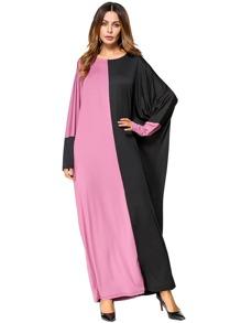Color Block Batwing Long Dress