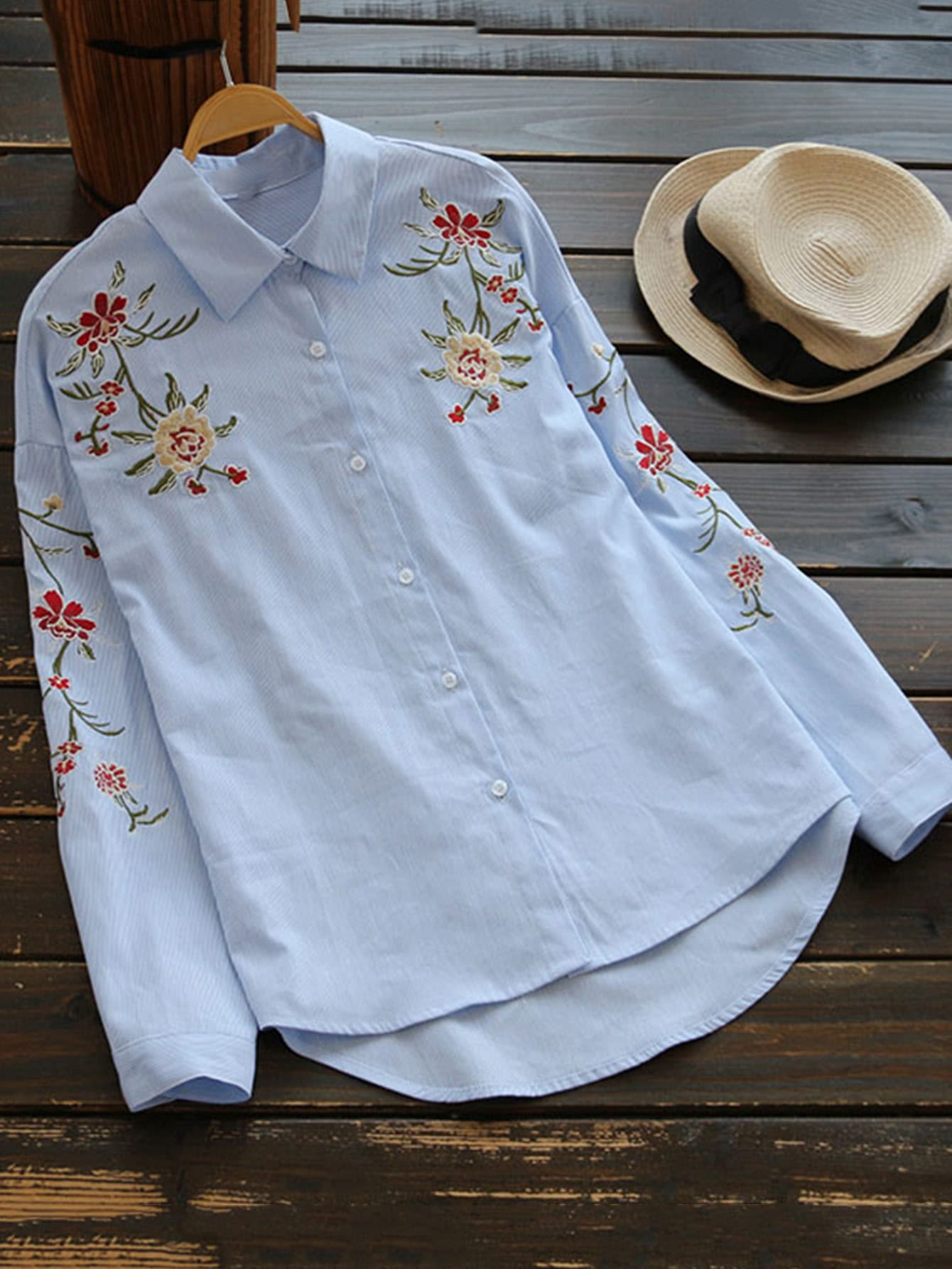 Drop Shoulder Embroidery High Low Pinstriped Blouse high low drop shoulder striped blouse