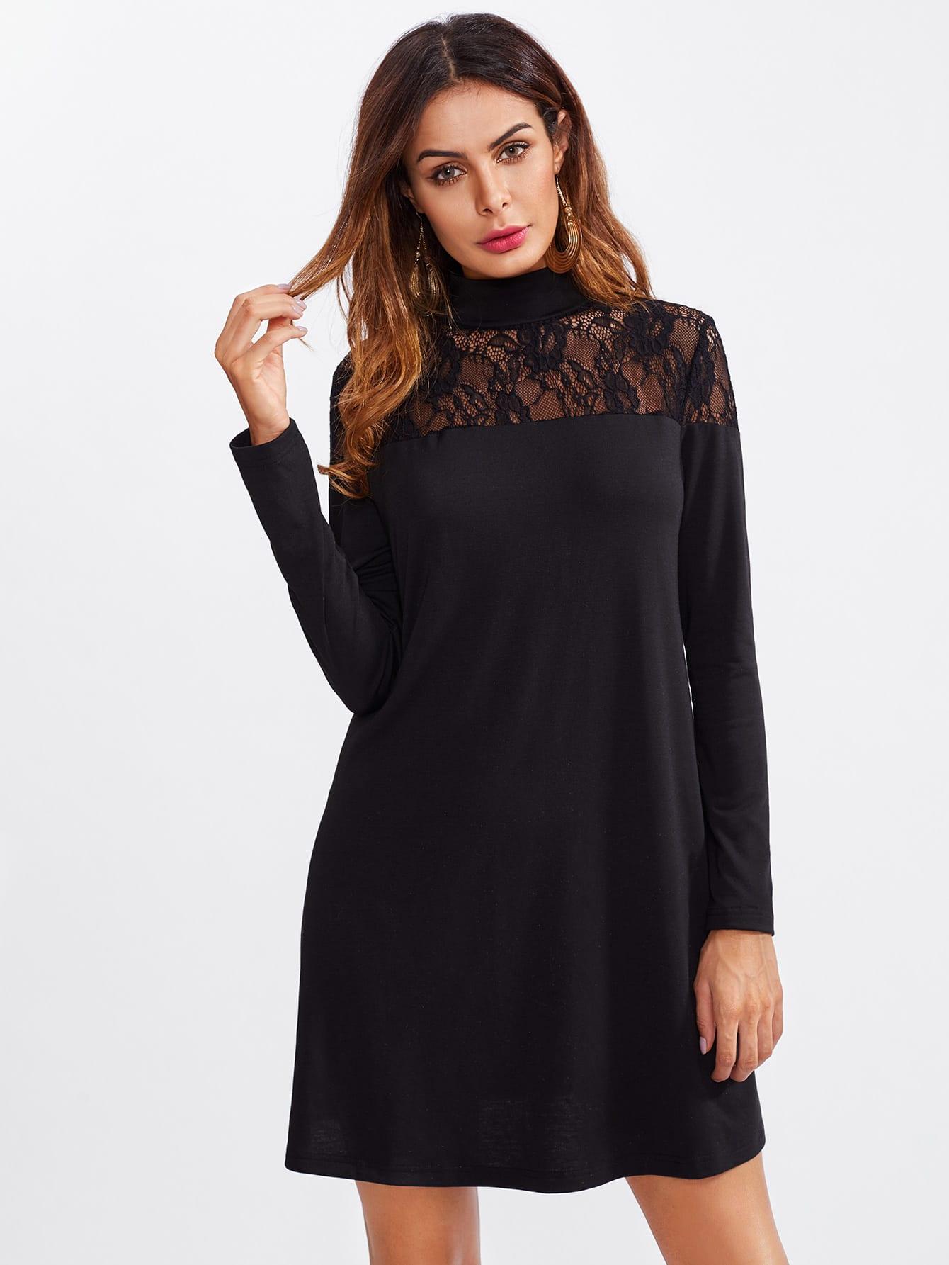 sheer lace yoke tee dress shein sheinside. Black Bedroom Furniture Sets. Home Design Ideas