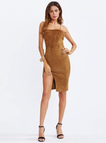 Grommet Lace Up Back Split Suede Dress