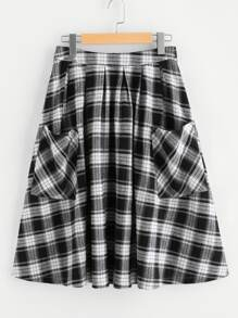 Pocket Front Zip Back Gingham Swing Skirt