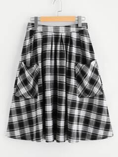 Pocket Front Zip Back Gingham Swing Skirt