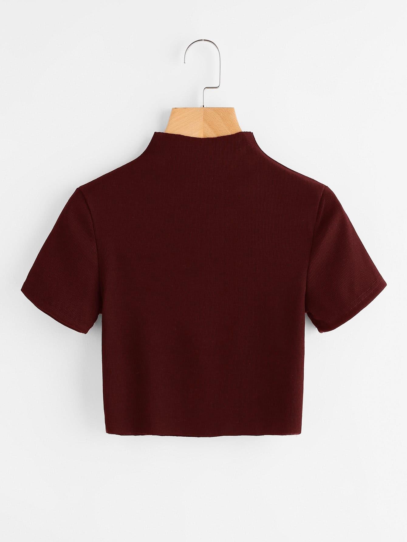 High Neck Ribbed Crop Sweater -SheIn(Sheinside)