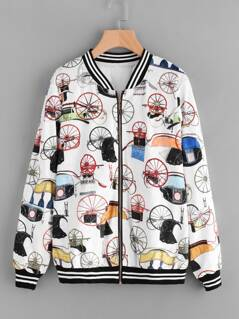 Striped Trim Allover Print Velvet Bomber Jacket