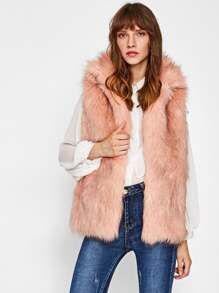 Collared Open Front Faux Fur Vest