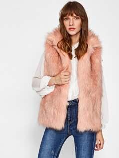 Collared Open Front Faux Fur Vest