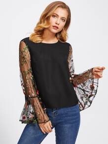 Tunic Top With Embroidered Mesh Trumpet Sleeve