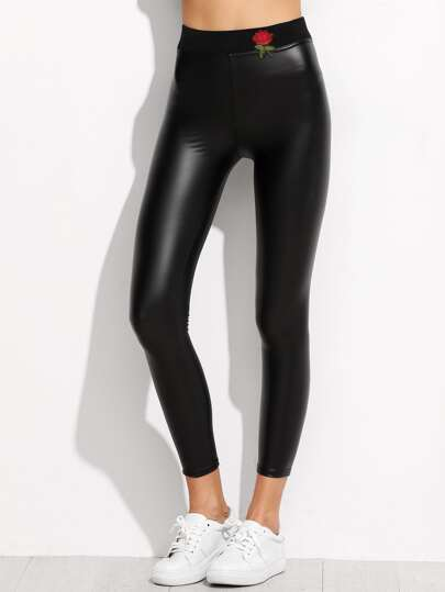 Rose Patch Faux Leather Leggings
