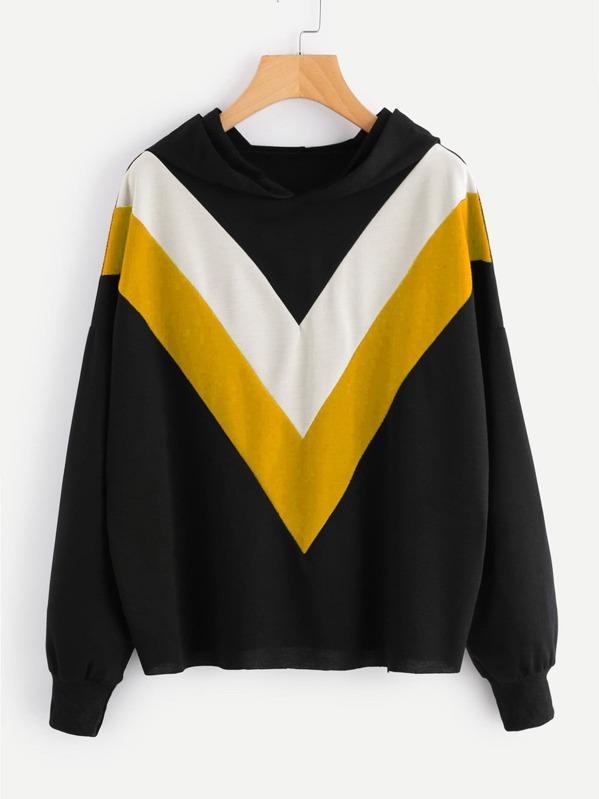 Hooded Color Block Sweatshirt, null