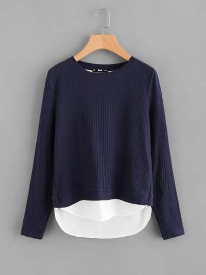 Overlap Back 2 In 1 Ribbed Knit Top