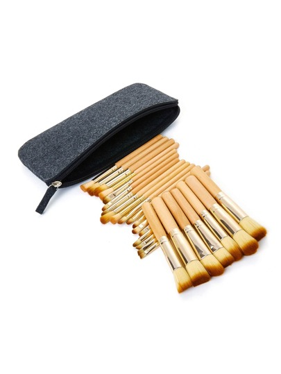 Wood Handle Makeup Brush Set 25pcs With Bag