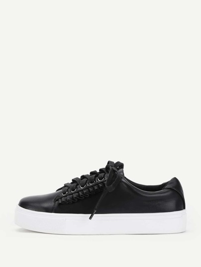 Flounce Detail Lace Up PU Trainers