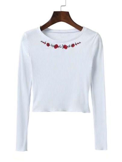 Rose Embroidery Slim Fit Knitwear