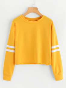 Varsity-Striped Sleeve Sweatshirt