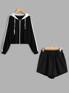 Contrast Hood Sweatshirt & Shorts Set