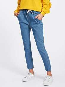 Drawstring Waist Jeans
