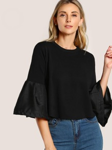 Satin Hem Sleeve Sweatshirt BLACK