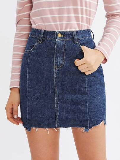 Raw Cut Hem Denim Skirt