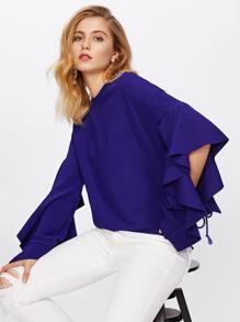 Flounced Open Sleeve Textured Sweatshirt