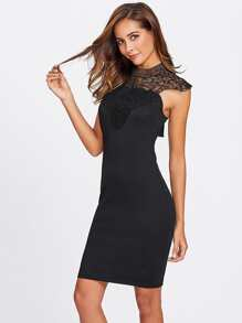 Lace Yoke Bow Tie Cutout Back Fitted Dress
