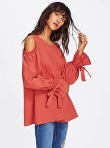 Open Shoulder Bow Tie Ruffle Sleeve Blouse