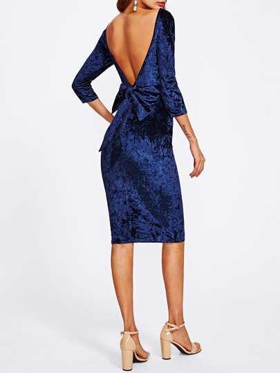 Bow Deep V Back Crushed Velvet Dress