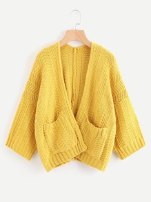 Double Pockets Open Front Sweater