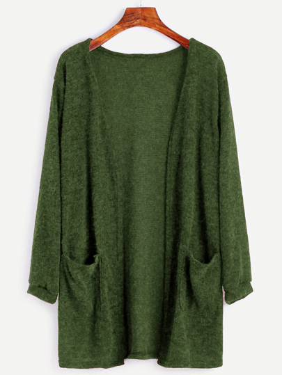 Open Front Sweater With Pockets