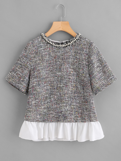 Contrast Ruffle Hem Pearl Detail Tweed Top