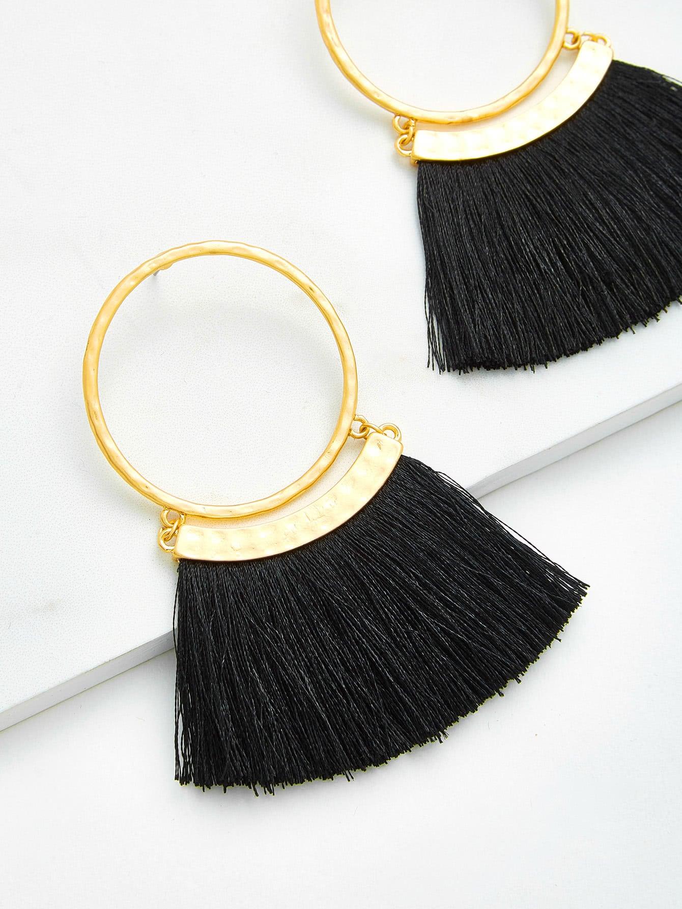 Fringe Design Drop Earrings