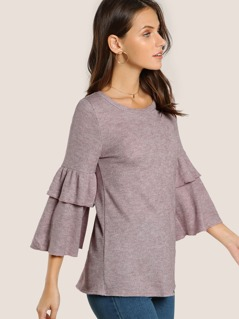 Layered Ruffle Sleeve Ribbed Top MAUVE