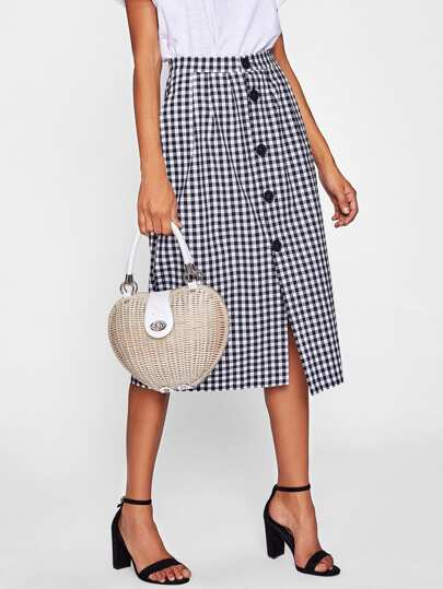 Gingham Single Breasted Skirt