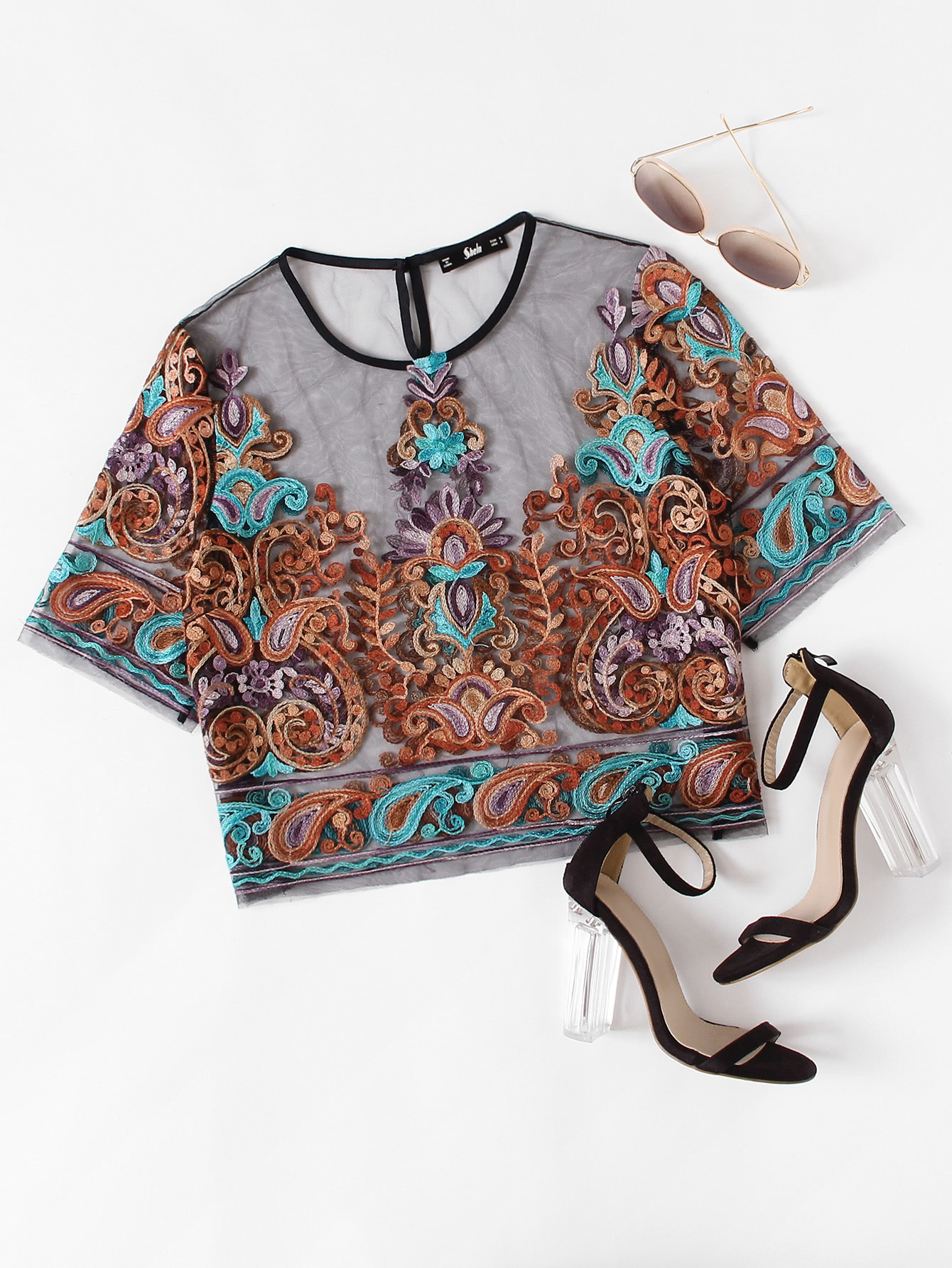 Buttoned Keyhole Botanical Embroidered Mesh Top buttoned keyhole back 2 in 1 embroidered mesh top