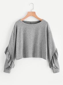 Drop Shoulder Flounce Trim Sleeve Sweatshirt