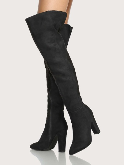 Point Toe Faux Suede Back Slit Thigh High Boots BLACK