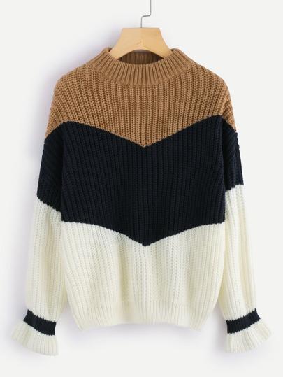 Cut & Sew Panel Frill Cuff Chunky Knit Sweater